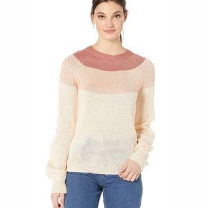 New!Volcom Pink Colorblock Balloon Sleeve sweater